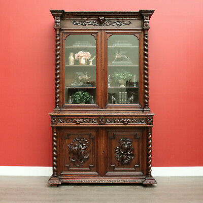 Antique French Oak 2 height Hunting Vitrine Sideboard Buffet China Cabinet