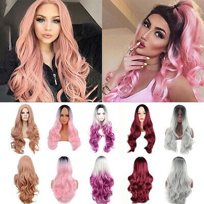 Fashion Women Long Curly Wavy Hair Wigs Ombre Wig Natural Cosplay Party Hair Wig