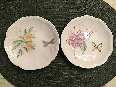 "Two (2) Lenox Butterfly Meadow party plates 6-1/4"" mint condition"