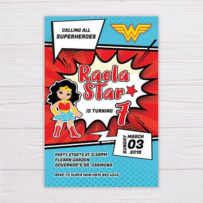 WONDER WOMAN BIRTHDAY Invitation Invitations Wonder Woman