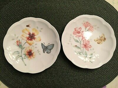 "Two (2) Lenox Butterfly Meadow Party Plates 6-1/4""  NEW"