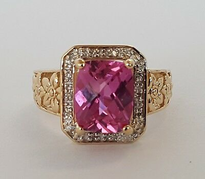 "14K Synthetic Pink Sapphire & Diamond Dress Ring -Valued $1123 "" Size O """