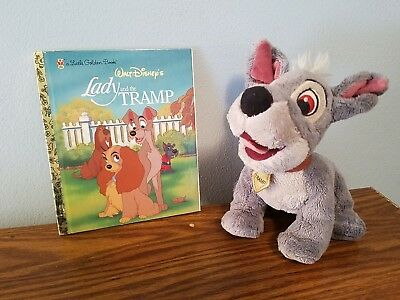 Disney land World parks Lady and the Tramp  plush dog & 2006 golden book