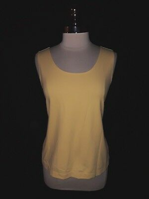 f83f885b083ba CHICO S Size 2 12 14 L Tank Top Camisole Yellow Stretch Knit Sleeveless