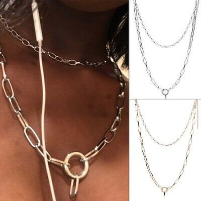 Punk Gothic Women Girls Round Metal Chain O Ring Choker Collar Necklace Party FT