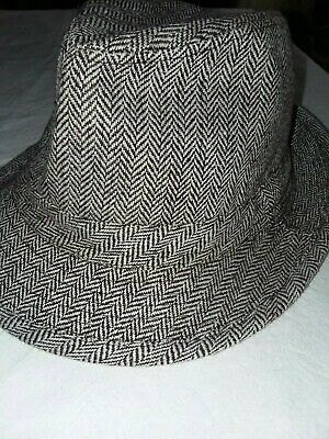23f0c8eae4c Vintage 100% Wool Blend Brown Tweed Herringbone Fedora Hat Cap Lid Size  Medium