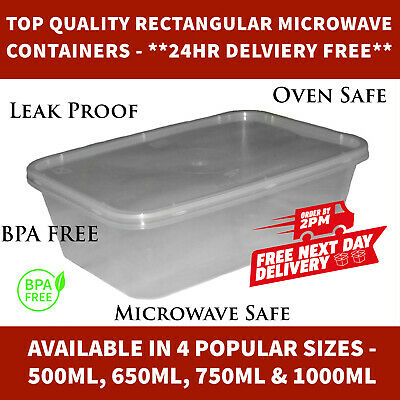 Microwave Containers Food Safe Leak Proof Clear Plastic and Lids *24hr DELIVERY*