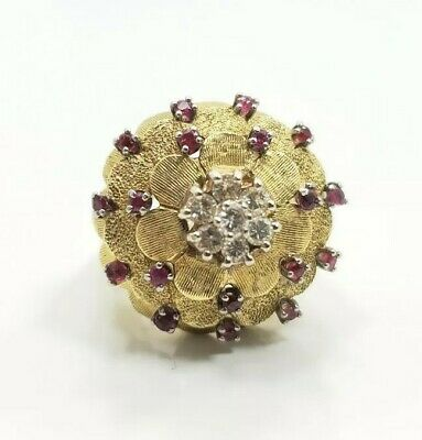 bf45e9d4e5dd5 VINTAGE MID CENTURY 18k Yellow Gold Diamond Ruby Cocktail Ladies Ring Size 6