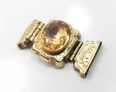 Antique Victorian Edwardian 10k Yellow Gold Citrine Detailed Clasp