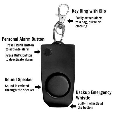 Anti-rape Device Alarm Alert Attack Panic Keychain Safety Black Security