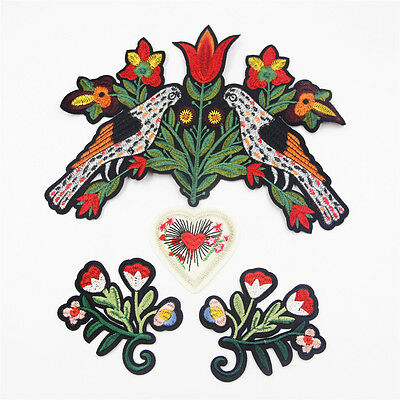 1Set  Bird flower Floral Motif Clothing Embroidered Applique DIY Sew On Patch