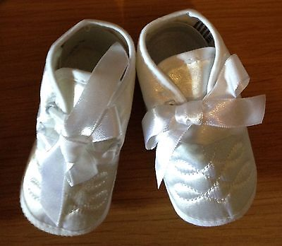 Christening shoes for baby boy in white age 3-6  months BNWB