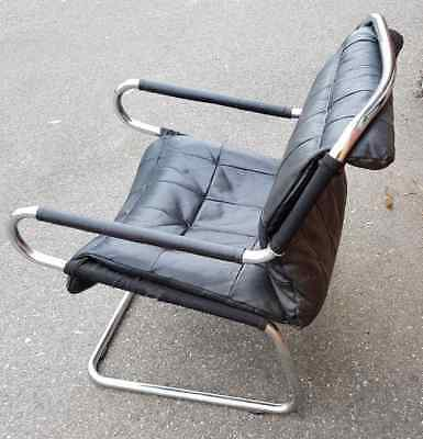 Vintage Mid Century Designer Black Leather Cantilever Chair Chrome Frame-OFFERS?