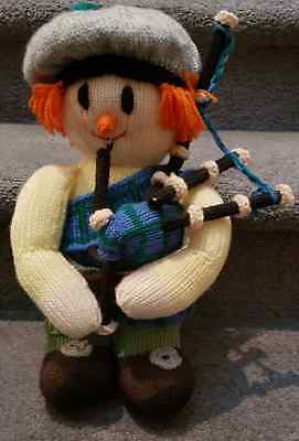 Vintage Hand Knitted Scottish Doll Med.Size with Bagpipes and Kilt