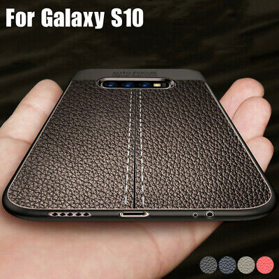 For Samsung Galaxy S10 Plus S9 S8 S7 Soft Rubber Leather Texture Slim Case Cover