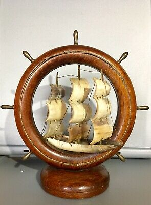 Vintage Wooden Nautical Bone Ship And Wheel