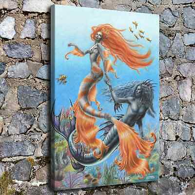 Mermaid and Merman HD Canvas prints Painting Home Decor Picture Room Wall art