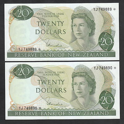 NEW ZEALAND P-167d. (1977-81) $20 STAR Note. YJ Prefix. UNC - CONSEC Pair
