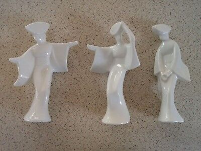 "Porcelain Mid-Century Japanese Geisha Dancer Figurines 7"" Set of 3"