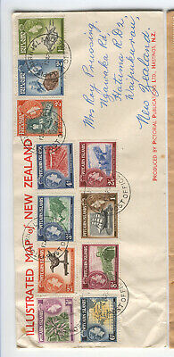 Pitcairn Is 1957 QEII set on cover, stamps cat £27