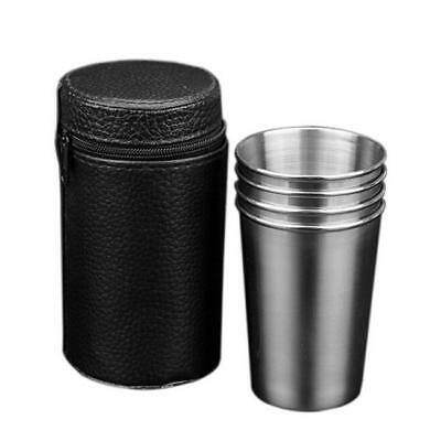 4PCS Stainless Steel Cups Mug Shot Cover Case PU Coffee Tea Beer Camping Tumble