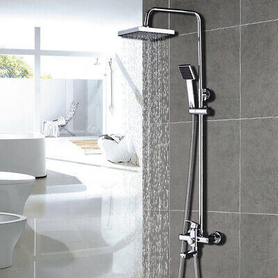"8"" Rainfall Chrome Bathroom Shower Faucet Tub Mixer Tap W/Handheld Wall Mounted"