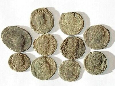 10 ANCIENT ROMAN COINS AE3 - Uncleaned and As Found! - Unique Lot 04510