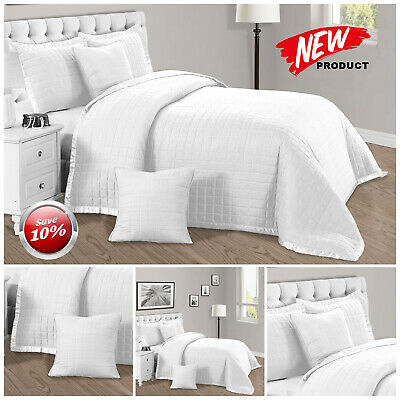 Luxury 3 Piece Quilted Bedspread Bedding Set With Matching Pillow Shams All Size