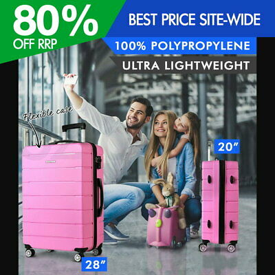 Wanderlite 2PC PP Luggage Suitcase Trolley TSA Travel Lightweight Hard Case Pink