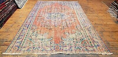 """Beautiful Primitive Antique Cr1900-1939s Muted Natural Dye Oushak Rug 5'6""""x9'4"""""""