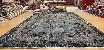 "Beautiful Antique Cr1930-1939s Wool Pile 5'9""×9'9"" Overdyed Oushak Area Rug"