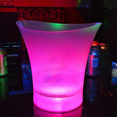 Colorful LED Lights Ice Bucket Champagne Wine Drinks Beer Ice Cooler Bar Party
