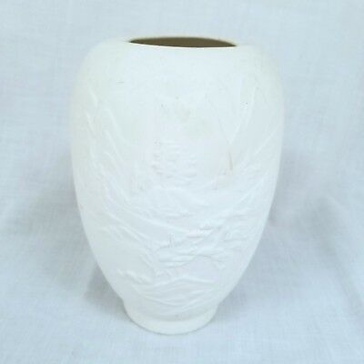 "Ceramic Bisque Ready To Paint Vase Pot Oriental Asian Scene 6"" Tall You Paint"