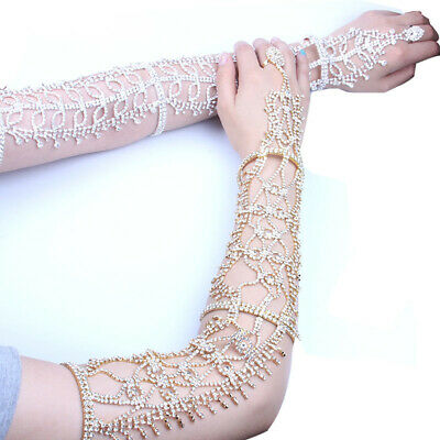 A Pair Of Crystal Arm Wrist Elbow Gloves Women Wedding Bridal Party Pageant