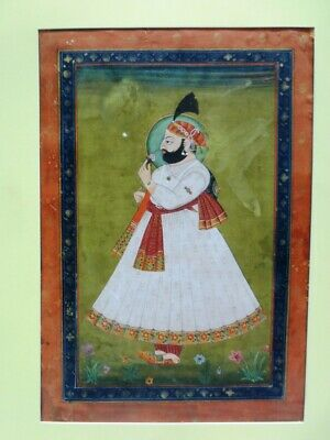 Indian Miniature Painting Fine Art Royal Maharaja Of Jodhpur Portrait