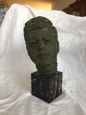 John F. Kennedy (JFK) Bust by Robert Berks dated 1964 with INFORMATION CARD