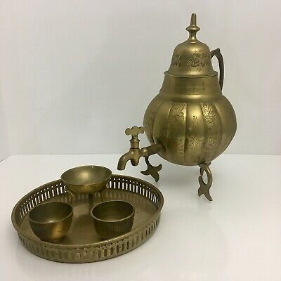 Antique Turkish Arabic Etched Brass Dallah Coffee Pot - Warmer- 2 Cups