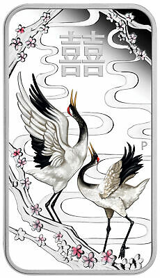 2019 Tuvalu Chinese Wedding Cranes 1 oz Silver Colorized Proof Bar $1 SKU57302