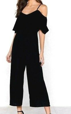 1273bf0bca45 Nasty Gal Womens Small US Size 2 - 4 Double Down Cold Shoulder Jumpsuit NWT