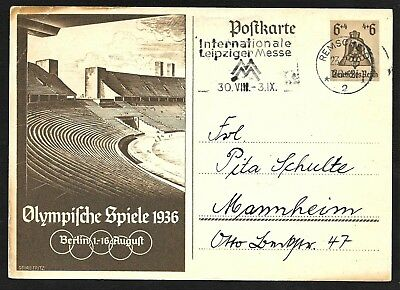 Germany Summer Olympic Games Postal Card Used Remscheid, Cover 1936