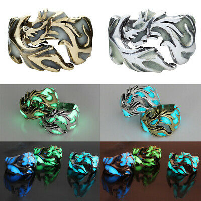 Men Unique Luminous Dragon Ring Cool Clubwear Pub Band Ring Vintage Jewelry Gift