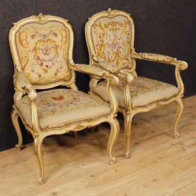 Couple armchairs lacquered furniture chairs italian wood antique style louis XV