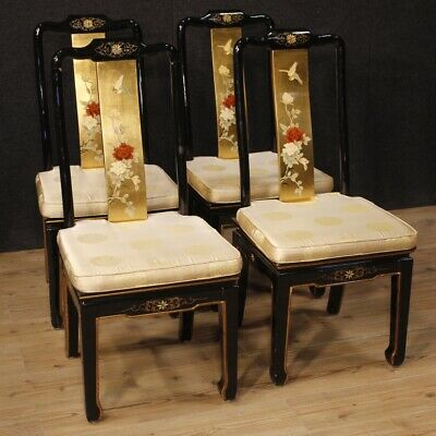 4 chairs french chinoiserie furniture armchairs wooden lacquered golden