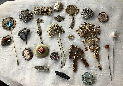 Job Lot Of 22 Victorian, Vintage & Reproduction Jewellery, Hair Pins, Brooches