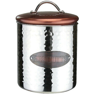 Vintage Retro Stainless Steel Biscuit Canister Kitchen Food Storage Container