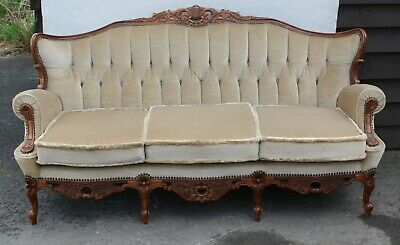 1940's  Elegant Louis XV style 3 Seater Sofa -Carved Walnut Frame