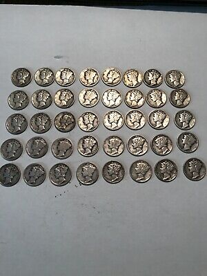 Lot of 40 MERCURY DIMES 90% SILVER - $4.00 Face Value Between 1917 and 1945