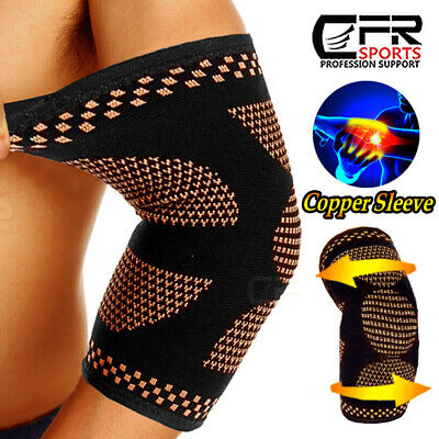 Elbow Support Brace Compression Arm Sleeves Copper Infused Joint Pain Relief Gym