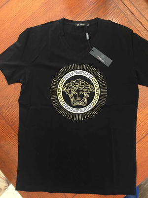 738217f5 NEW VERSACE COLLECTION Men's V Neck Fitted T-Shirt.Black/Gold. Mens ...