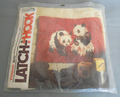 Panda Bears Latch Hook Rug Canvas (only)